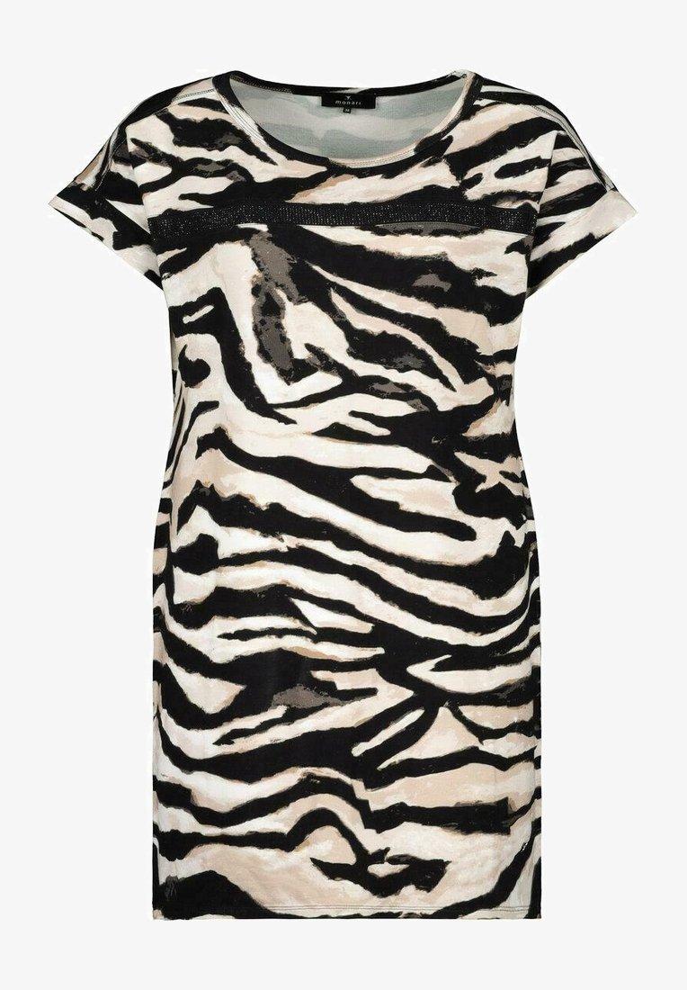 Monari - MIT ALLOVER PRINT IM ZEBRA LOOK - Print T-shirt - black