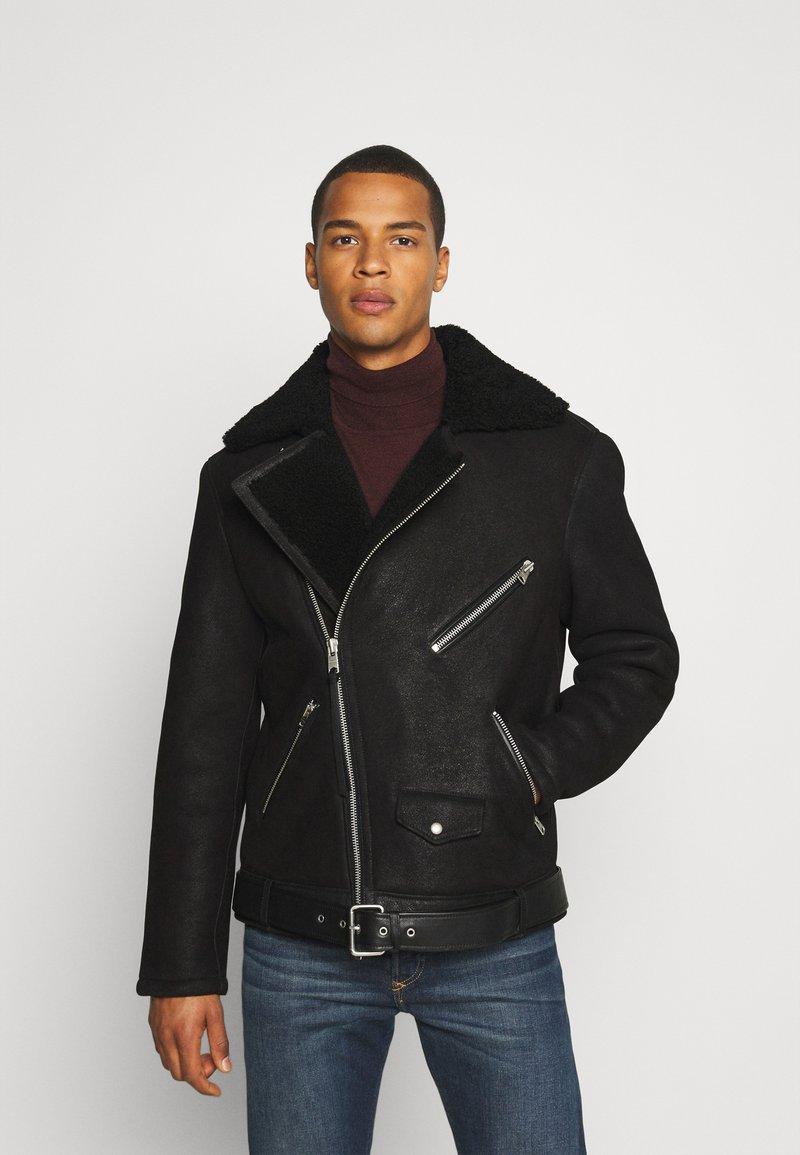 AllSaints - TERRO BIKER - Leather jacket - black