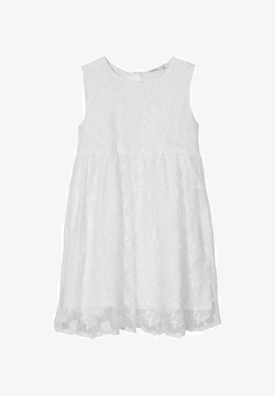 KLEID BLUMENSTICKEREI   Cocktailkleid/festliches Kleid   bright white