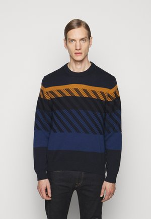MENS CREW NECK - Jumper - dark blue/orange