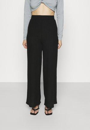 WIDE LEG KNIT JOGGER - Trousers - black