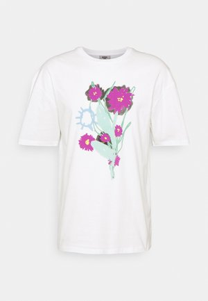 WAKE UP AND SMELL THE FLOWERS TEE UNISEX - T-shirt print - off white