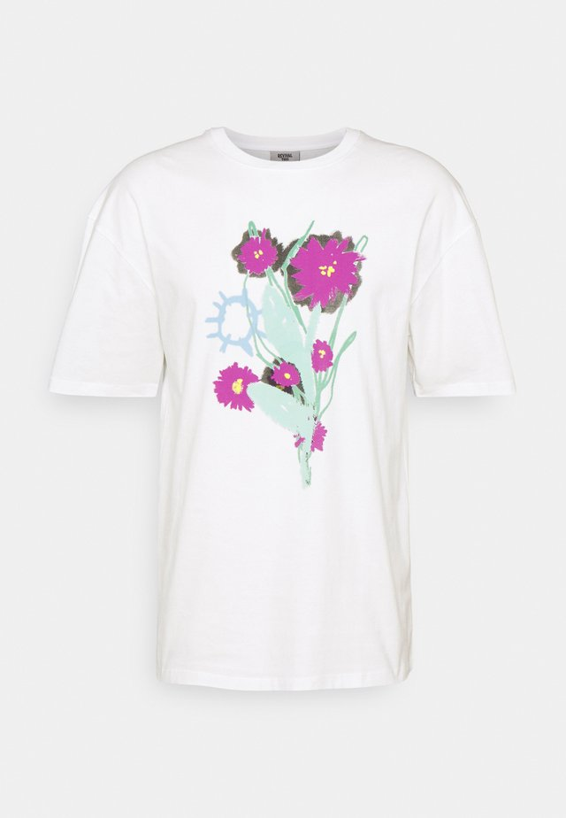 WAKE UP AND SMELL THE FLOWERS TEE UNISEX - T-shirt z nadrukiem - off white