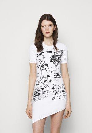 ASYMMETRICAL ELEMENT DRESS - Žerzejové šaty - white