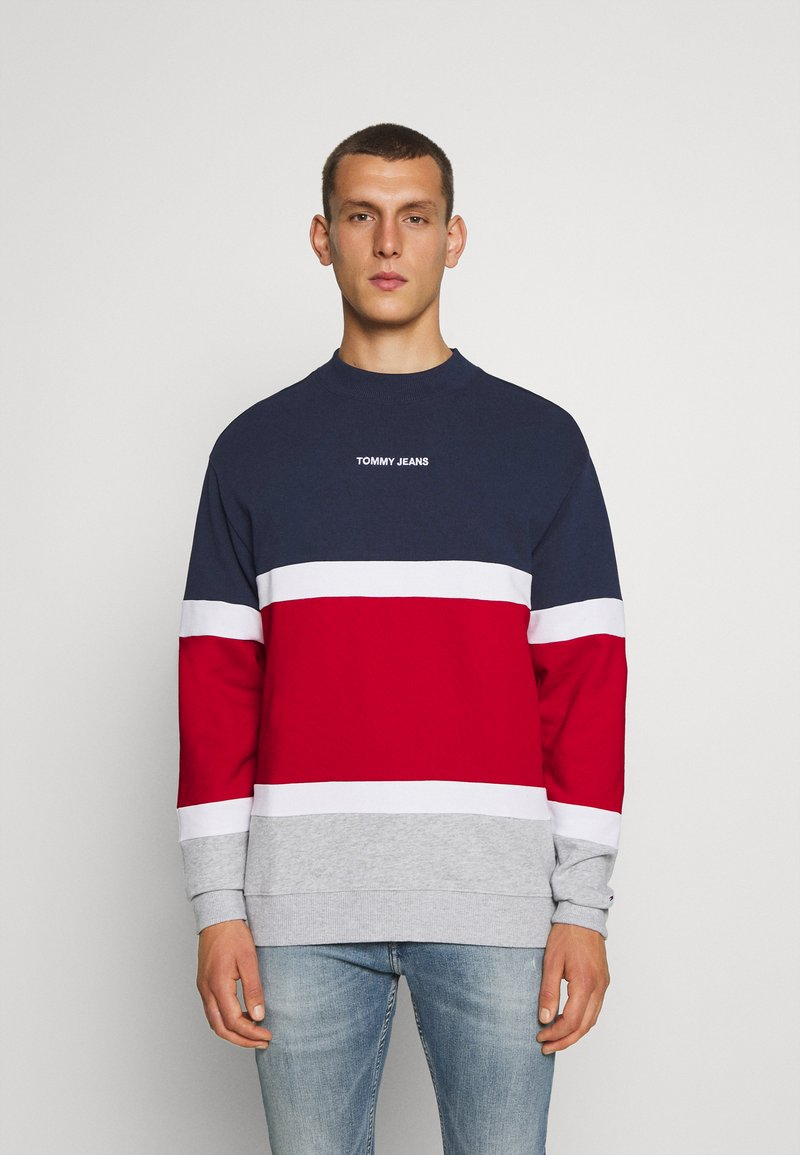 Tommy Jeans - RETRO COLORBLOCK HIGH CREW - Sweatshirt - twilight navy/multi