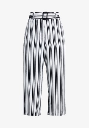 MONO STRIPE BELTED TROUSERS - Pantalones - black