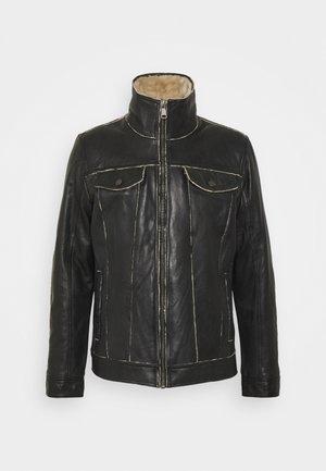 NILS - Leather jacket - black/beige