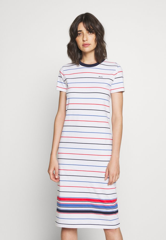 SHORT SLEEVE CASUAL DRESS - Žerzejové šaty - white multi