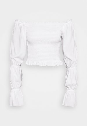 PAMELA REIF X NA-KD PUFFY SLEEVE SMOCKED - Blusa - white