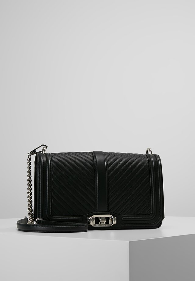 CHEVRON QUILTED LOVE CROSSBODY - Sac bandoulière - black