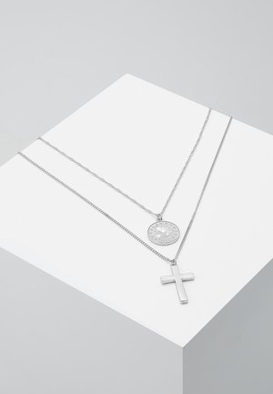 COIN & CROSS MULTI ROW 2 PACK  - Necklace - silver-coloured