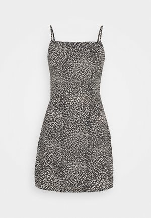CAMI TIE BACK ALINE DRESS LEOPARD - Korte jurk - black