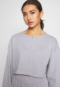 Missguided - ZIP FRONT CROPPED  SLIM LINE SET - Tracksuit - grey - 8