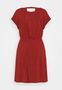 TOM TAILOR DENIM - OVERCUT SHOULDER DRESS - Day dress - rust orange - 1