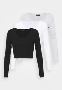 Even&Odd - 3 PACK - Long sleeved top - black/white/grey - 6