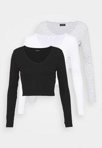 3 PACK - Långärmad tröja - black/white/grey