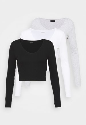 3 PACK - Long sleeved top - black/white/grey