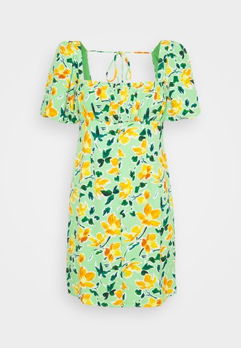 MINI BUTTON THROUGH DRESS WITH GATHERED BUST PANEL PUFF SHORT SLEEVE - Day dress - green