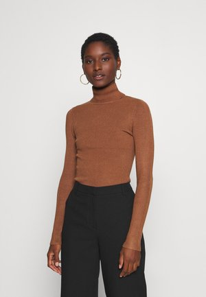 BASIC- RIBBED TURTLE NECK - Svetr - brown
