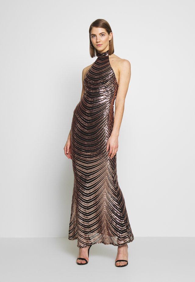 SEQUIN HIGH NECK FISHTAIL MAXI DRESS - Galajurk - gold