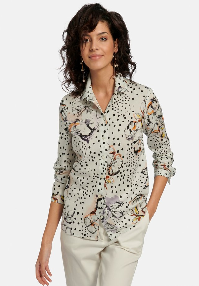Button-down blouse - weiß/beige/multicolor