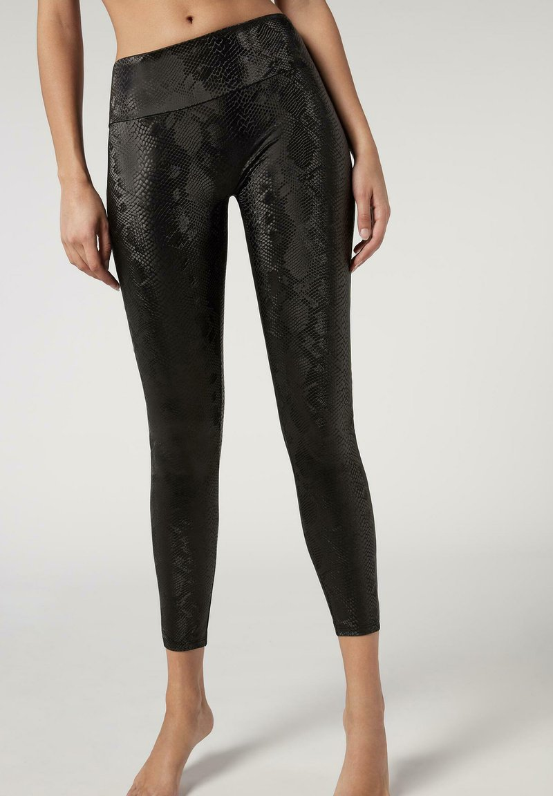 Calzedonia - TOTAL SHAPER - Leggings - Trousers - schwarz  - python black