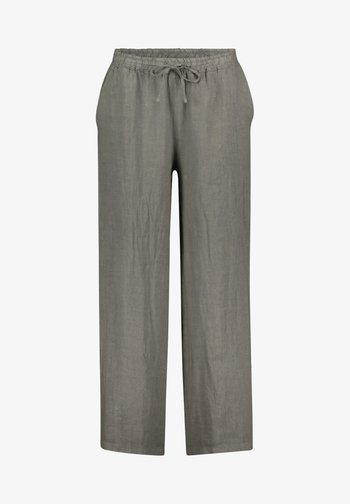 MIT BINDEGÜRTEL - Trousers - linen green