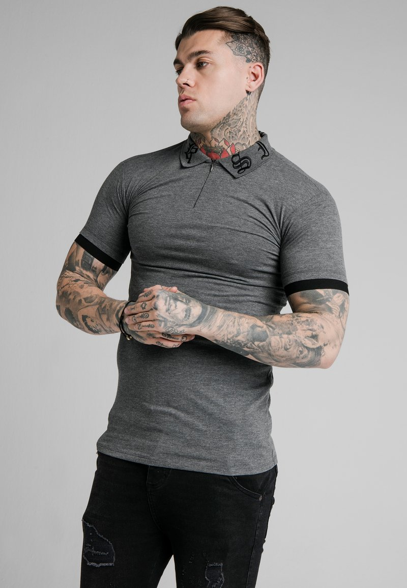 SIKSILK - OLD ENGLISH INSET - Poloshirt - dark grey marl