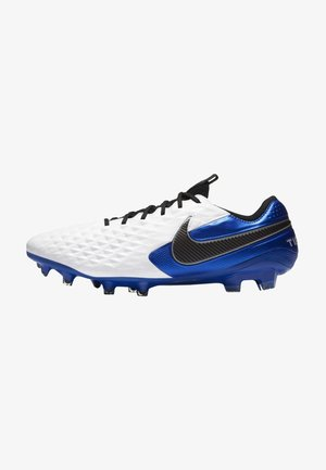 TIEMPO LEGEND 8 ELITE FG - Moulded stud football boots - white/hyper royal/metallic silver/black
