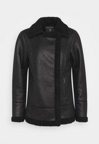 COATED SHEARLING AVIATOR JACKET - Light jacket - black