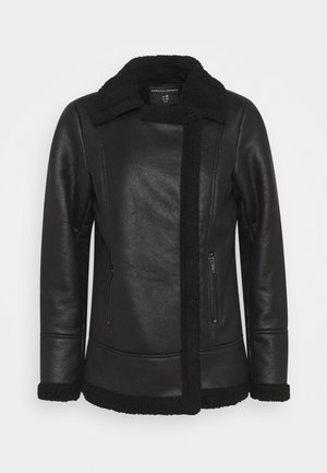 COATED SHEARLING AVIATOR JACKET - Jas - black
