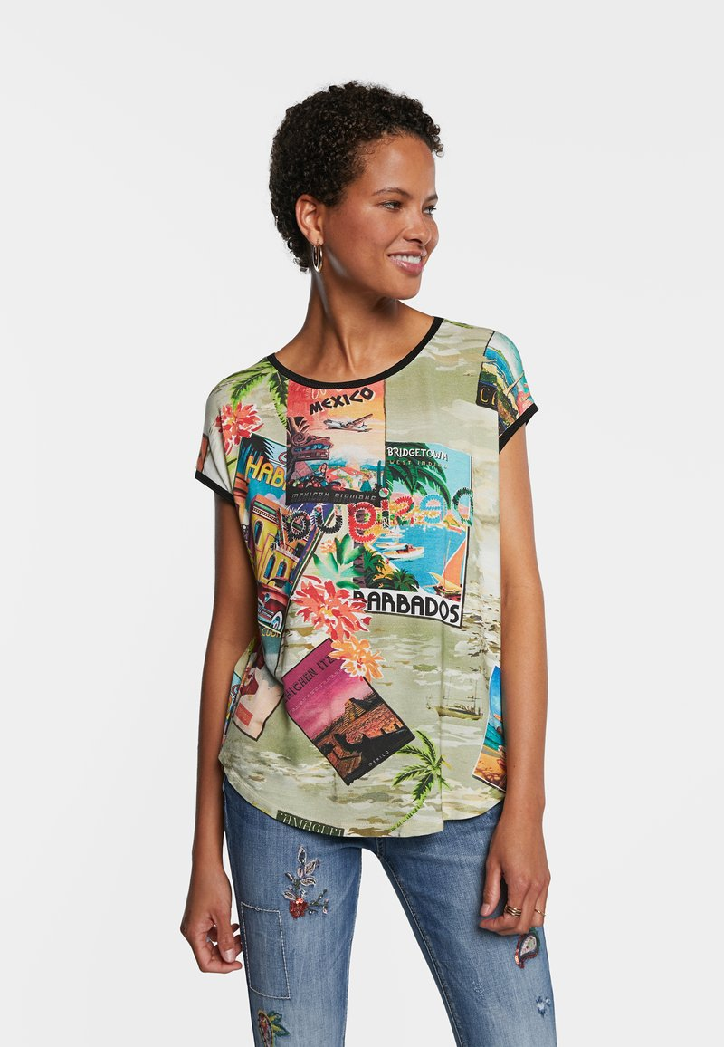 Desigual - COLOMBIA - Print T-shirt - brown