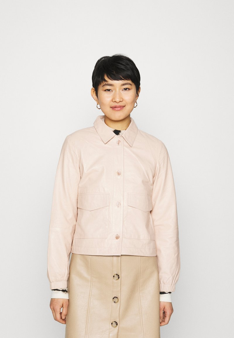 ALIGNE - CAMPBELL  - Leather jacket - buttermilk