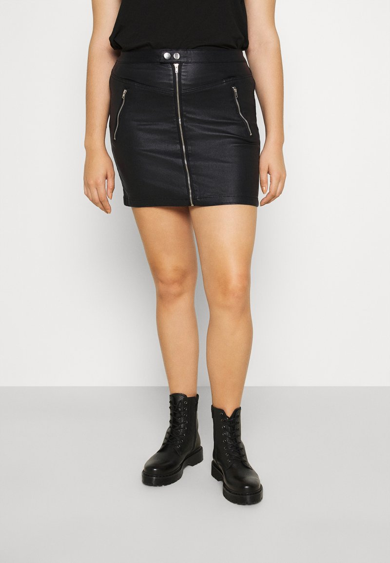 Missguided Plus - COATED DOUBLE POPPER SKIRT - Pencil skirt - black
