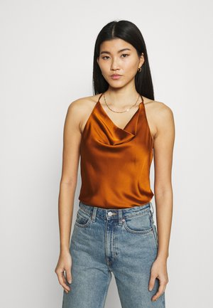 COWLNECK T STRAP BACK BODYSUIT - Top - brown