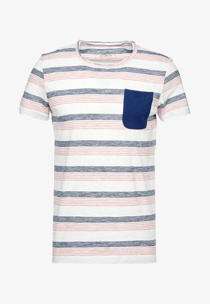 STRIPED WITH POCKET - T-shirt med print - creamy white