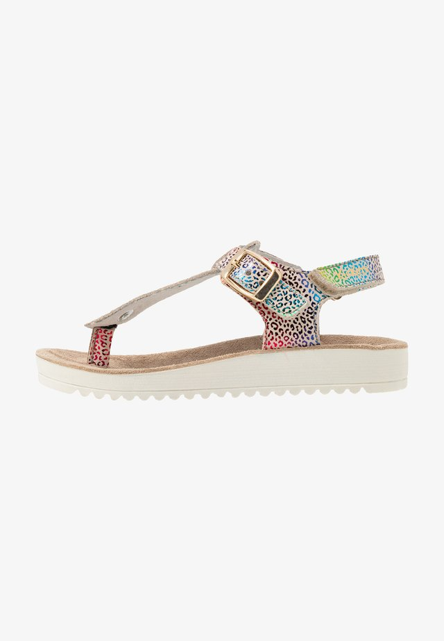 ODYSSE - T-bar sandals - beige/multicolor