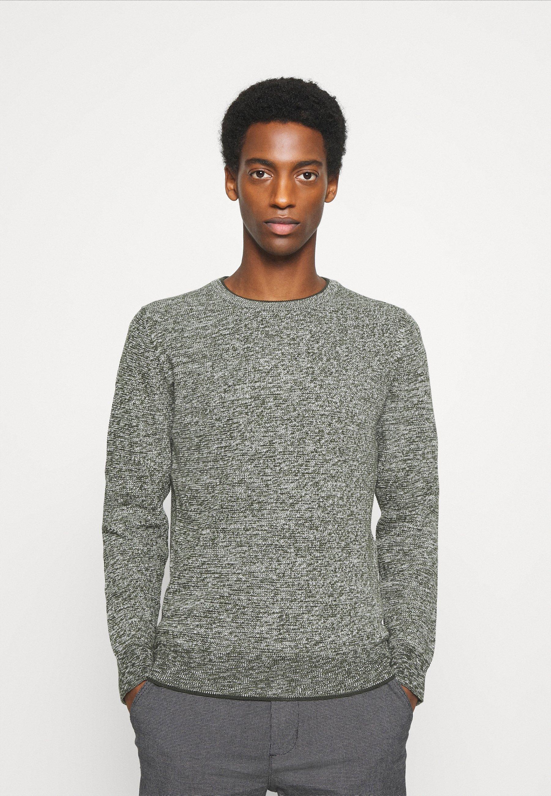 Marc O'Polo gemêleerde sweater met logo grijs   wehkamp