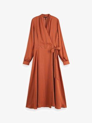 BELTED WRAP-OVER MIDI-LENGTH DRESS - Denní šaty - enigma red