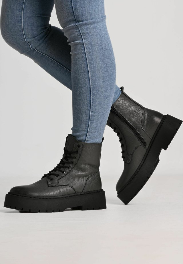 MARY - Lace-up ankle boots - grey/ black