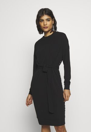 BELTED DRESS - Jersey dress - black