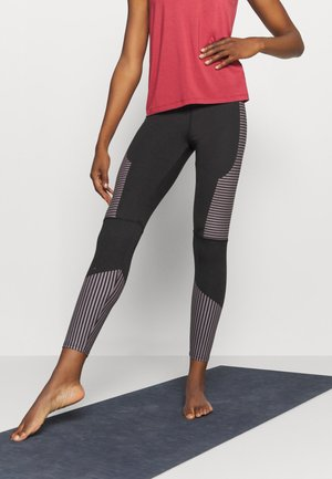 TONAL STITCH DETAIL STRIPED LEGGING - Leggings - black/cocoa