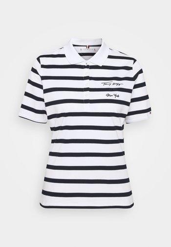 REGULAR SCRIPT STRIPED - Print T-shirt - cabana/white