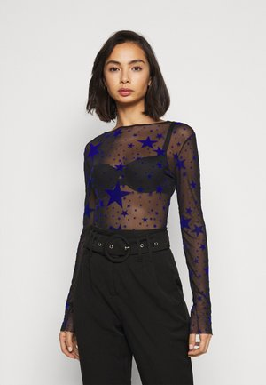 STAR FLOCKED BODYSUIT - Blusa - black