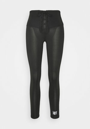 LACED FRONT LEGGING - Tights - black