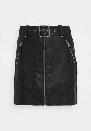 HARDWEAR ZIP BIKER SKIRT - Mini skirt - black
