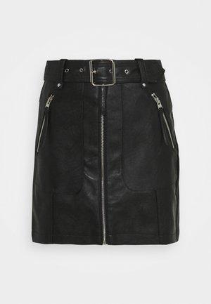 HARDWEAR ZIP BIKER SKIRT - Minisukně - black