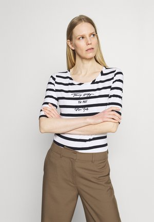 SLIM SCRIPT STRIPED TEE - Print T-shirt - cabana/white