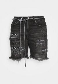 BANDANA PATCH AND PAINT SPLAT CUT OFFS - Denim shorts - washed black