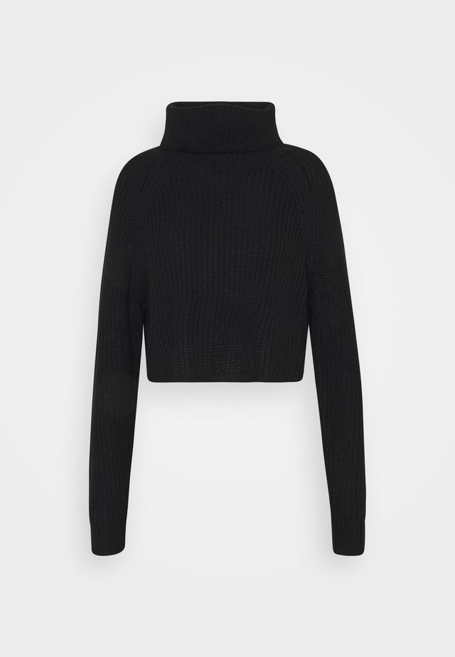 ROLL NECK BATWING CROP JUMPER - Trui - black